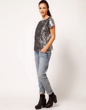 Image 4 ofRiver Island Sequin T-Shirt