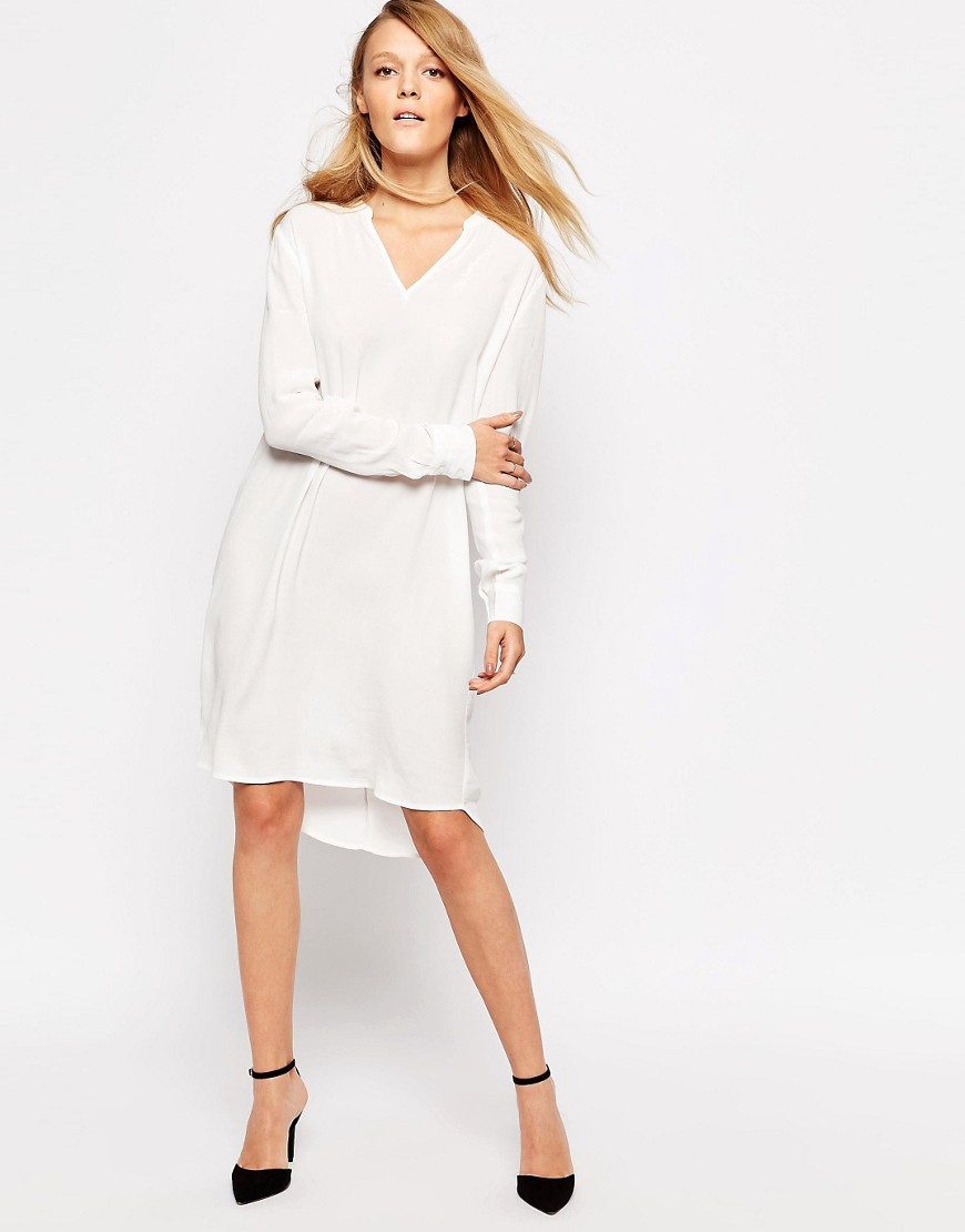 Just Female Skin Smock Dress - White