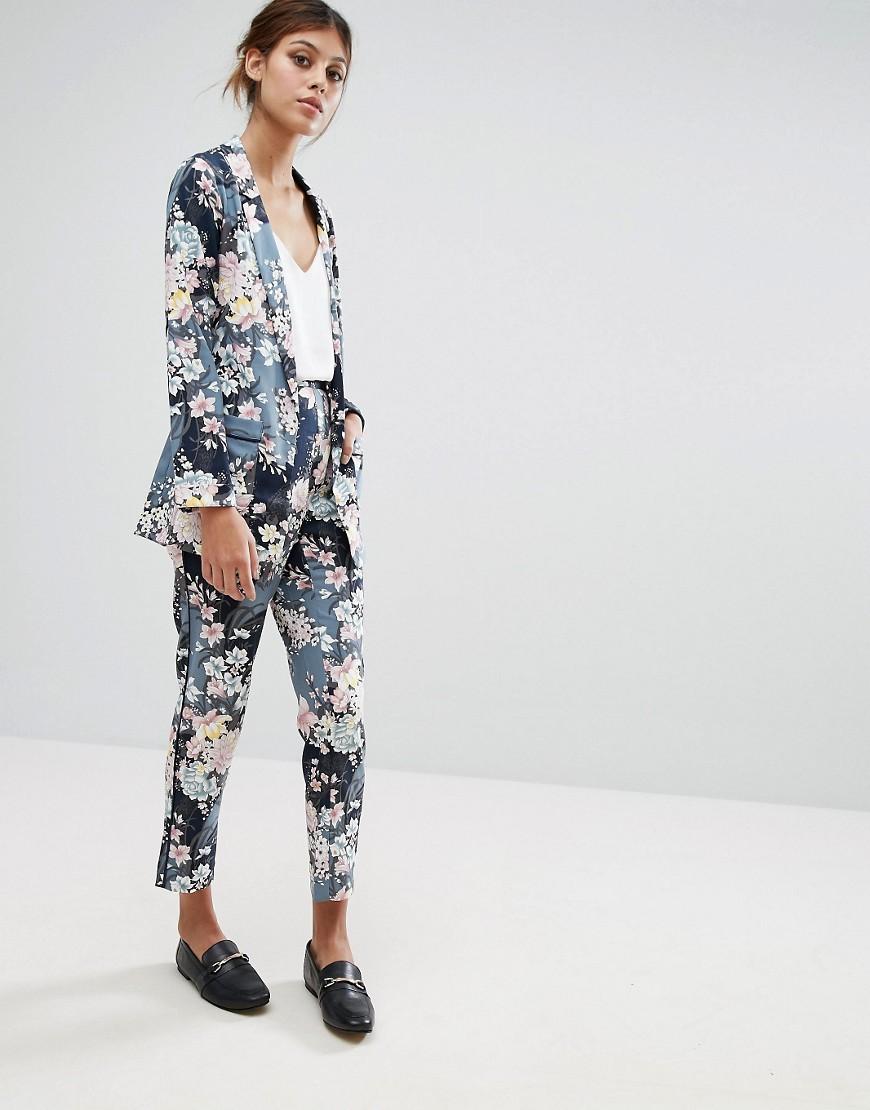 Oasis Lotus Print Soft Trouser - Multi