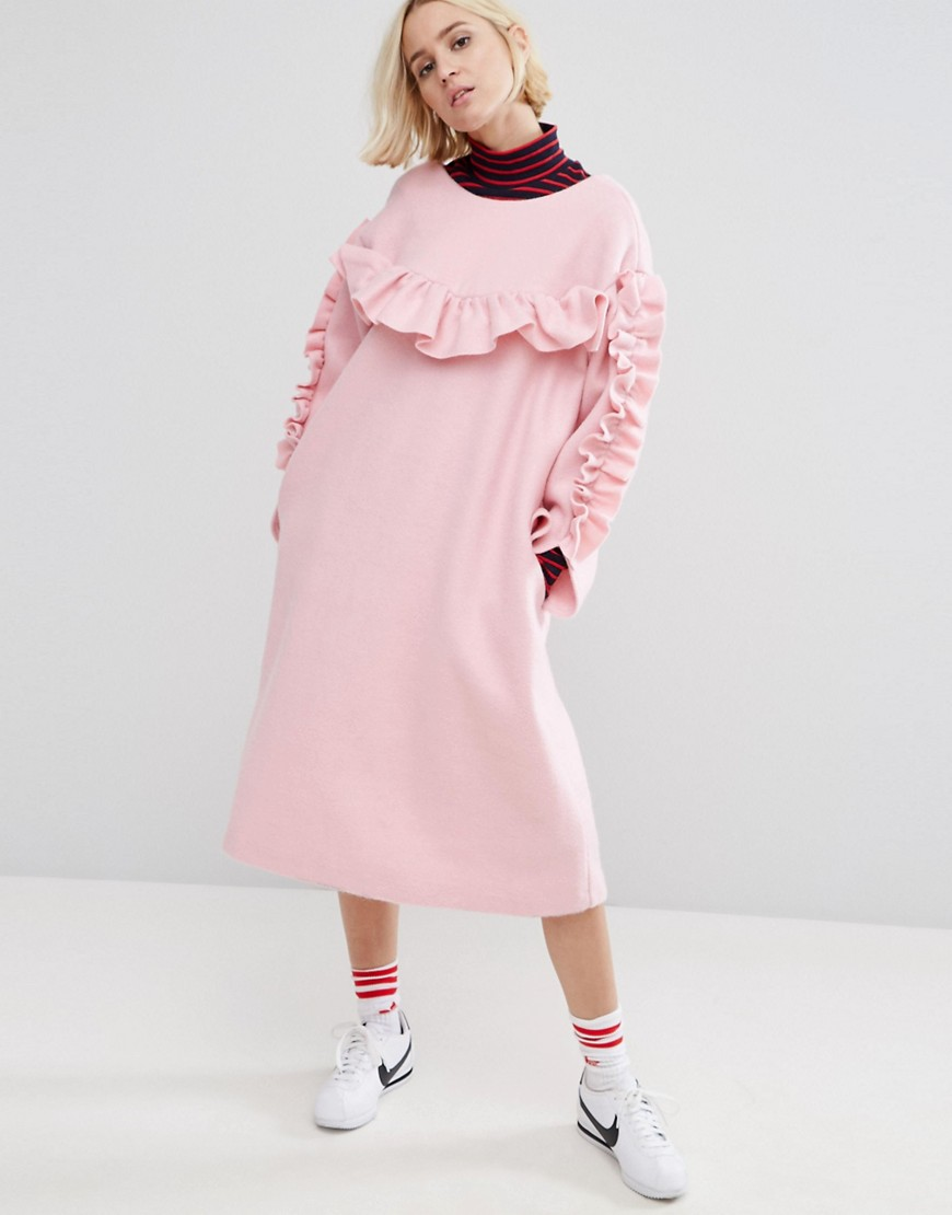 STYLENANDA Frill Detail Smock Dress - Pink