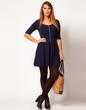 Image 4 ofASOS CURVE Skater Dress With Zip Front