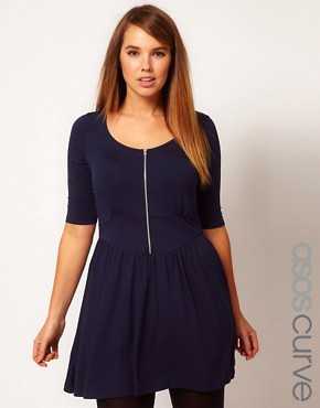 Image 1 ofASOS CURVE Skater Dress With Zip Front