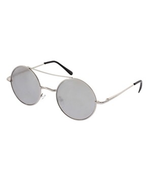 Image 1 of ASOS Metal Round With Mirror Lens & High Bar Detail