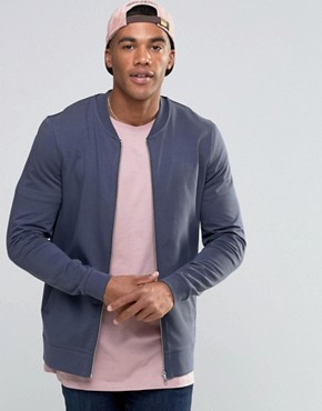 ASOS Muscle Jersey Bomber Jacket With Contrast Back