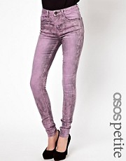 ASOS PETITE Ridley Supersoft High Waisted Ultra Skinny Jeans In Pink Marble Wash