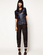 ASOS BLACK By Markus Lupfer Leather Peg Trousers In Print
