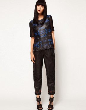 Image 1 ofASOS BLACK By Markus Lupfer Leather Peg Trousers In Print