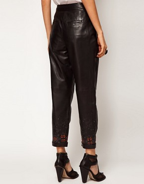 Image 2 ofASOS BLACK By Markus Lupfer Leather Peg Trousers In Print