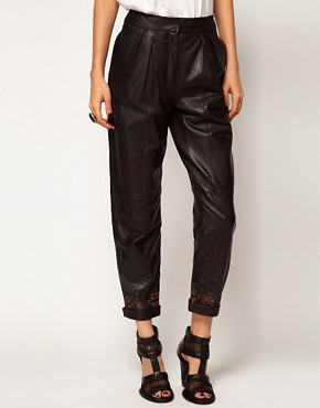 Image 4 ofASOS BLACK By Markus Lupfer Leather Peg Trousers In Print