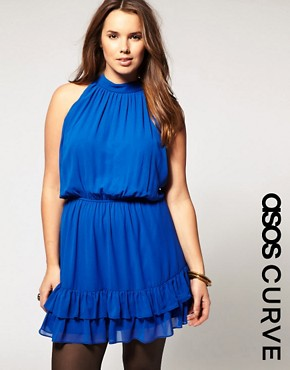 Image 1 ofASOS CURVE Dress with Ruffle Hem