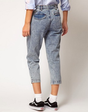 Image 2 ofASOS WHITE Cropped Denim Trousers in Acid Wash
