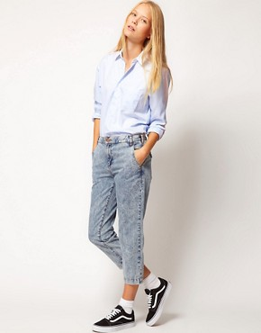 Image 4 ofASOS WHITE Cropped Denim Trousers in Acid Wash