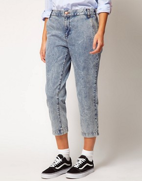 Image 1 ofASOS WHITE Cropped Denim Trousers in Acid Wash