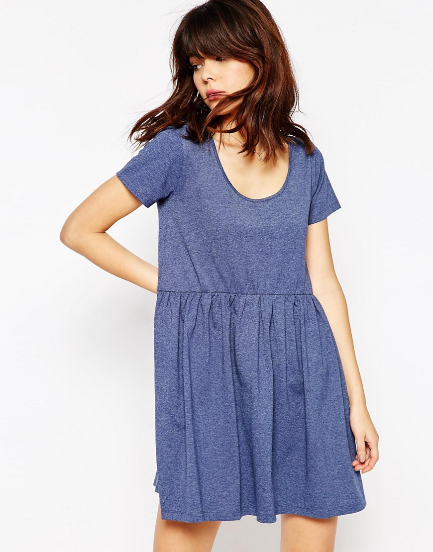 ASOS Smock Dress with Short Sleeve - Navy