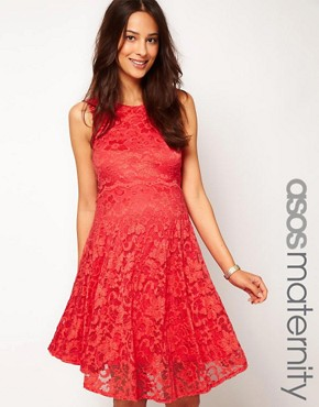 Image 1 of ASOS Maternity Exclusive Lace Skater Dress