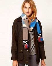 Quinton &amp; Chadwick Stripe Scarf with Super Pom Poms