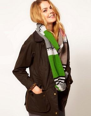 Image 1 ofQuinton &amp; Chadwick Stripe Scarf with Super Pom Poms