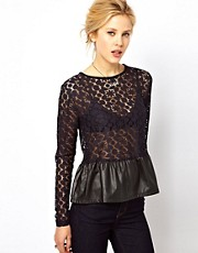 ASOS Top in Lace with PU Peplum