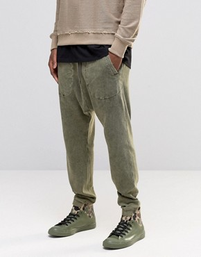 ASOS Drop Crotch Joggers In Waffle Fabric In Khaki Acid