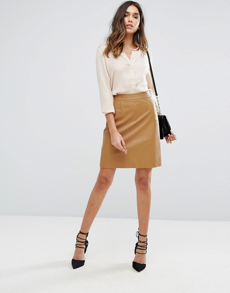 Boss Orange Bastra Faux Leather Skirt - Light/pastel brown