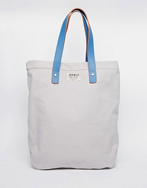 Jack Wills Canvas Shopper with Leather Detail