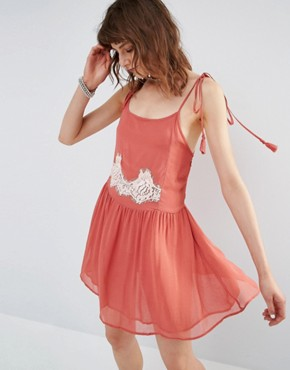 Mango Lace Back Detail Smock Dress