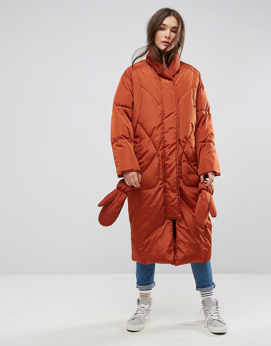 ASOS Longline Puffer Coat with Detachable Mittens - Rust
