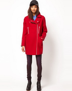 Image 4 ofASOS Biker Cocoon Coat