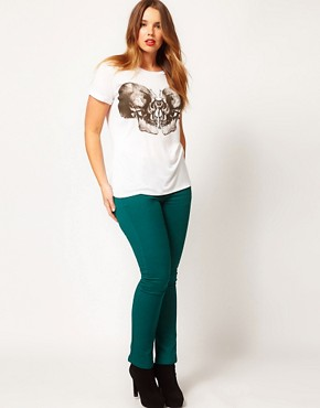 Image 4 ofASOS CURVE T-Shirt With Skull Butterfly