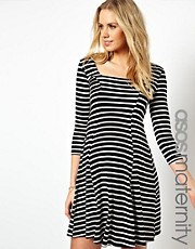 ASOS Maternity Skater Dress In Stripe
