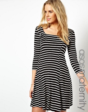 Image 1 of ASOS Maternity Skater Dress In Stripe