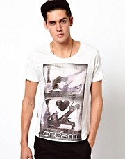 Clubbed To Death T-Shirt With I Heart Cream Print
