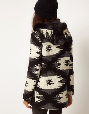 Image 2 of ASOS Aztec Duffle Coat