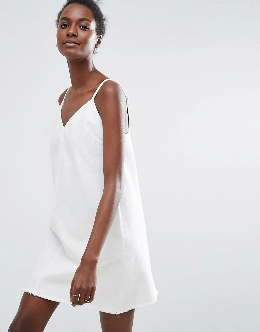 ASOS Denim Slip Dress in White
