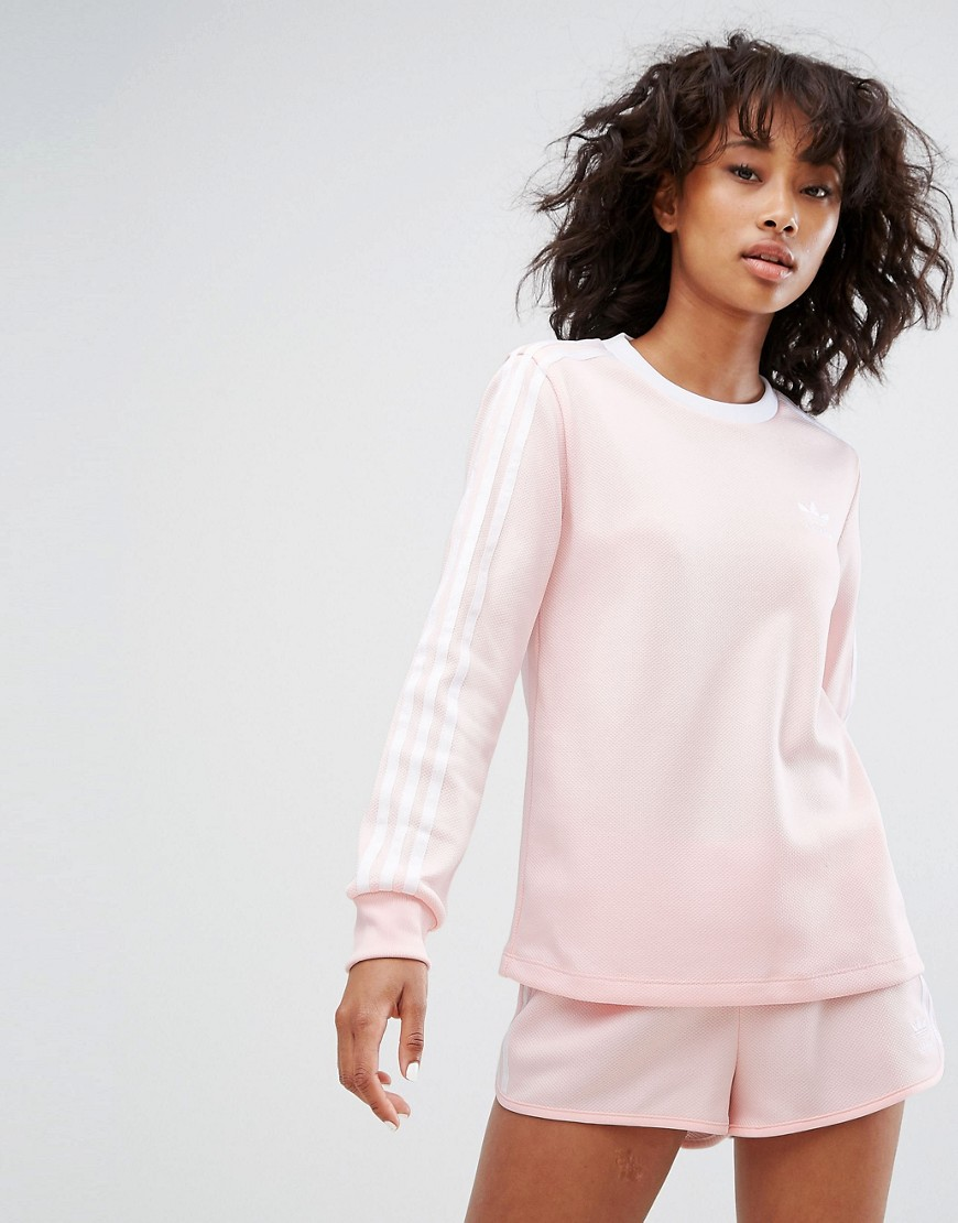 adidas Three Stripe Long Sleeve Top In Pale Pink - Pink