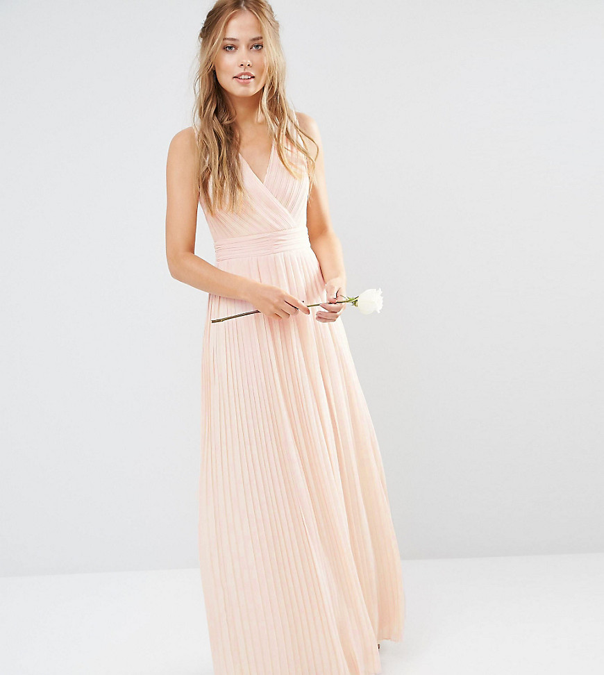 TFNC WEDDING Pleated Wrap Maxi Dress - Pink