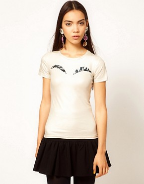 Image 1 ofDanielle Scutt Metallic Jersey Top with Printed Peep Bust Detail