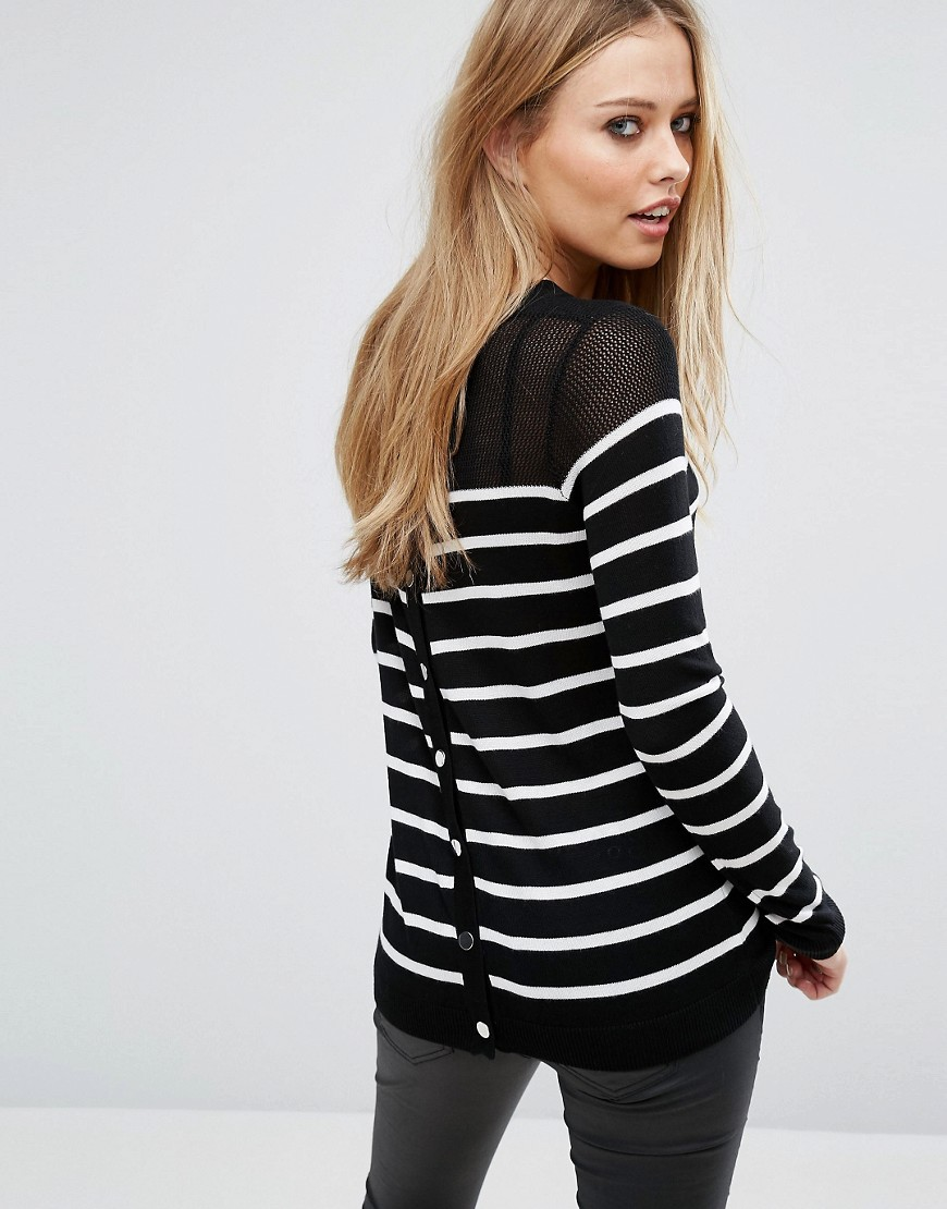 John & Jenn Callida Stripe Snap Back Sweater - Navy