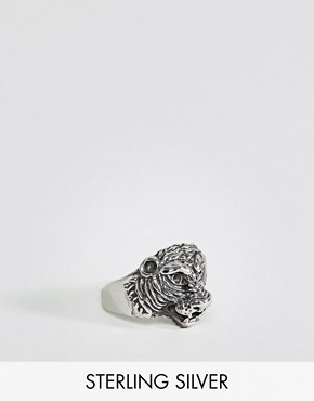 ASOS Sterling Silver Ring With Tiger Design