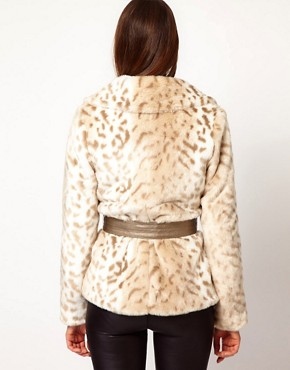 Image 2 ofLipsy Snow Leopard Faux Fur Coat With Belt