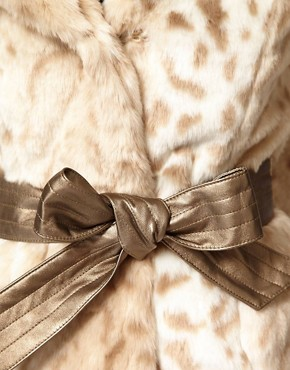 Image 3 ofLipsy Snow Leopard Faux Fur Coat With Belt