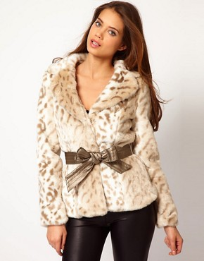 Image 1 ofLipsy Snow Leopard Faux Fur Coat With Belt