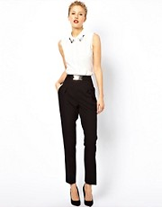 ASOS Trousers With High Waist and Gold Belt Detail