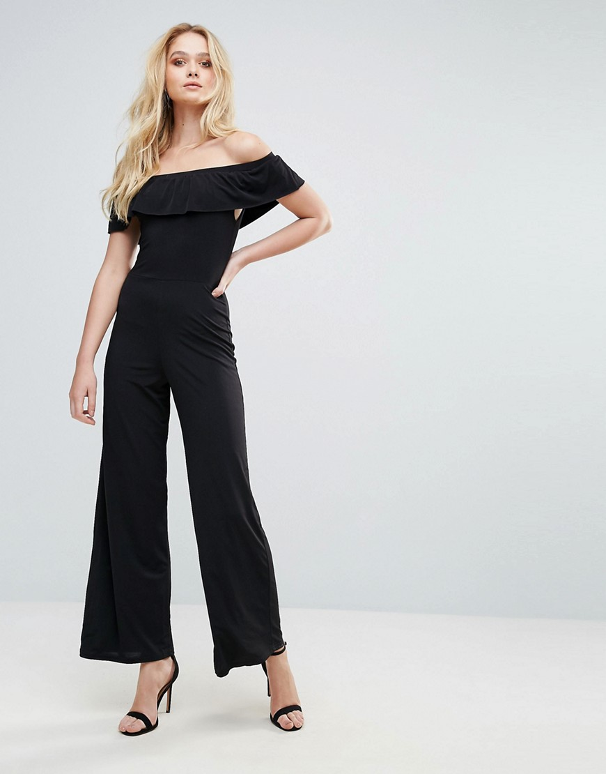 Love Bardot Frill Jumpsuit - Black