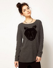 Illustrated People Bear Oversized Jumper