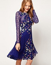 ASOS Floral Dress With Lace Panels