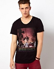 Solid T-Shirt With Miami Print
