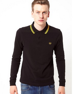 Image 1 ofFred Perry Polo Slim Long Sleeved Twin Tipped