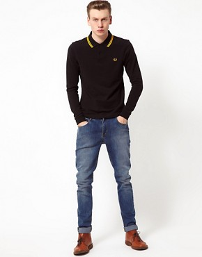 Image 4 ofFred Perry Polo Slim Long Sleeved Twin Tipped