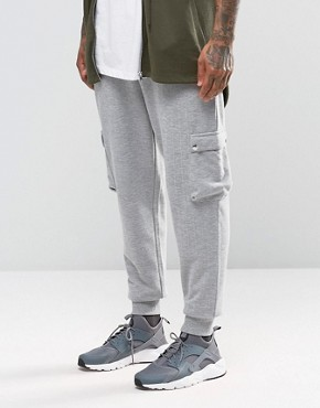 ASOS Standard Fit Joggers In Grey Rib With Cargo Pockets